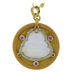 Cazzaniga Pendant in 18 Karat Yellow Gold with Diamonds, Ruby and Lavender Jade