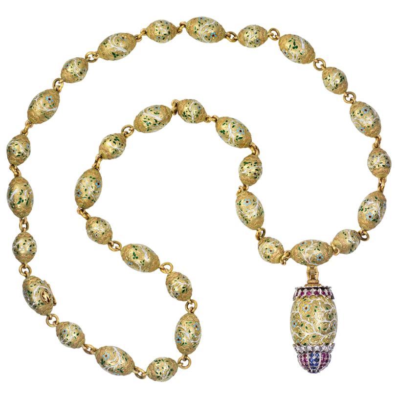 c. 1970 Cazzaniga Long Ruby, Sapphire, Diamond, Enamel and Gold Sautoir