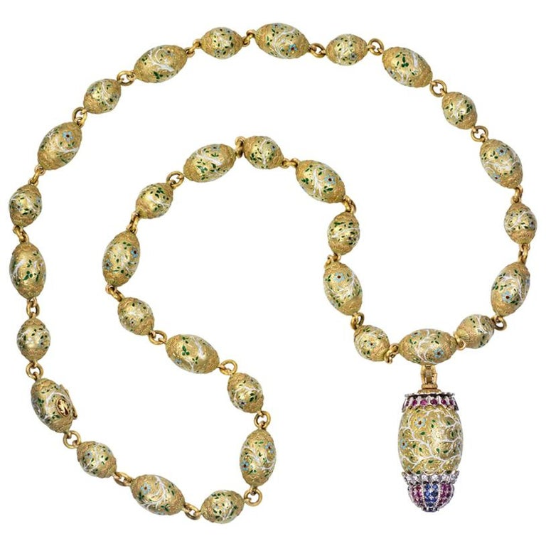 c. 1970 Cazzaniga Ruby, Sapphire, Diamond, Enamel and Gold Sautoir For Sale