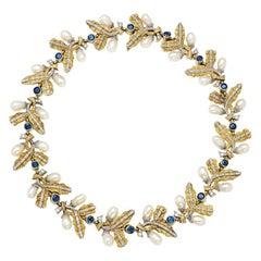 Cazzaniga Sapphire Gold Folate Design Necklace