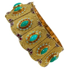 Cazzaniga Turquoise, Ruby, Enamel and Gold Bracelet, circa 1960