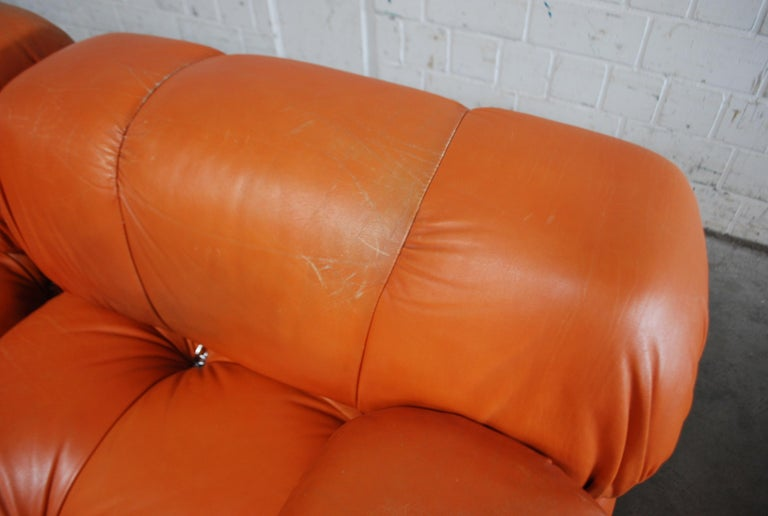 C&B B&B Italia Model Camaleonda Mario Bellini Brandy Cognac Leather Sofa For Sale 10