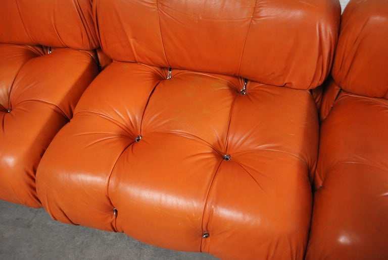 C&B B&B Italia Model Camaleonda Mario Bellini Brandy Cognac Leather Sofa For Sale 12