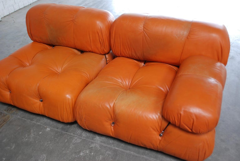 C&B B&B Italia Model Camaleonda Mario Bellini Brandy Cognac Leather Sofa In Good Condition For Sale In Munich, Bavaria