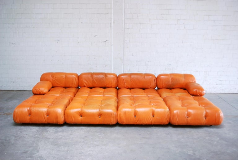 Late 20th Century C&B B&B Italia Model Camaleonda Mario Bellini Brandy Cognac Leather Sofa For Sale