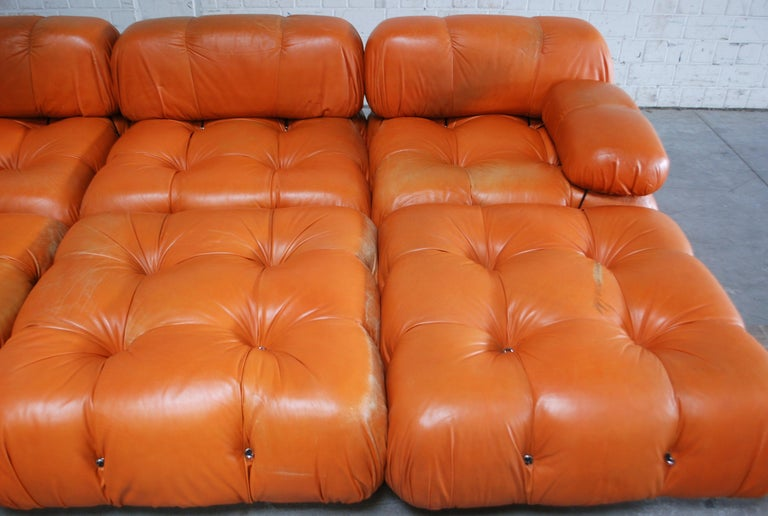 Metal C&B B&B Italia Model Camaleonda Mario Bellini Brandy Cognac Leather Sofa For Sale