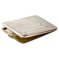 CB Sterling Silver Yellow Inlaid Cigarette Case