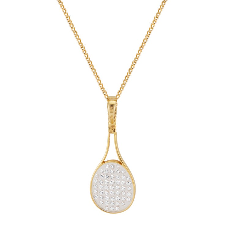 Round Cut CBI .50 Carat Diamond Yellow Gold Tennis Racket Pendant Necklace For Sale