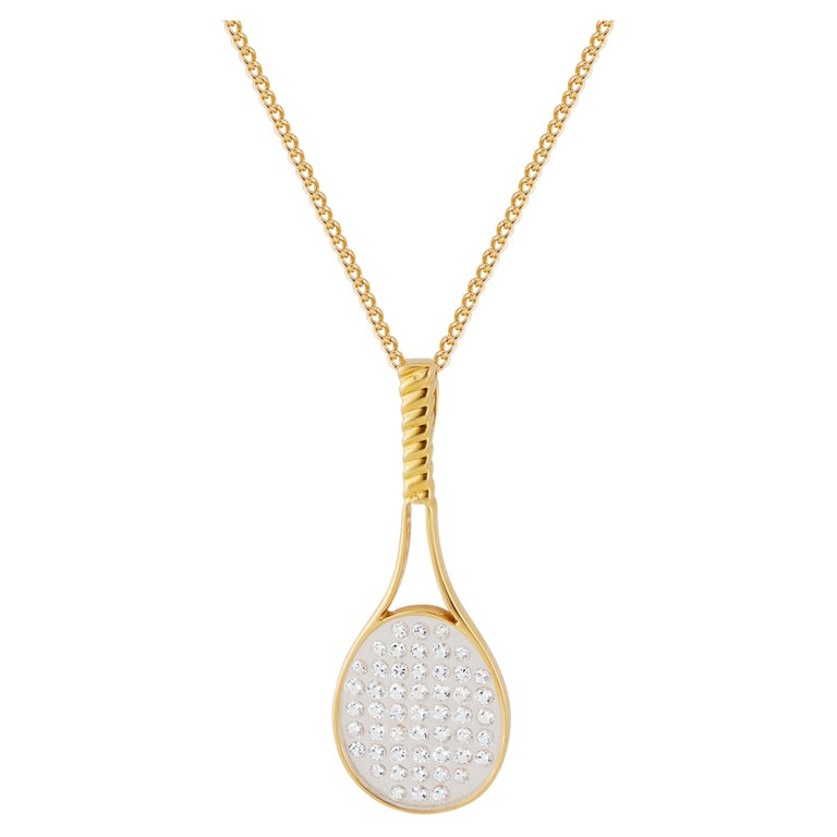 CBI .50 Carat Diamond Yellow Gold Tennis Racket Pendant Necklace For Sale
