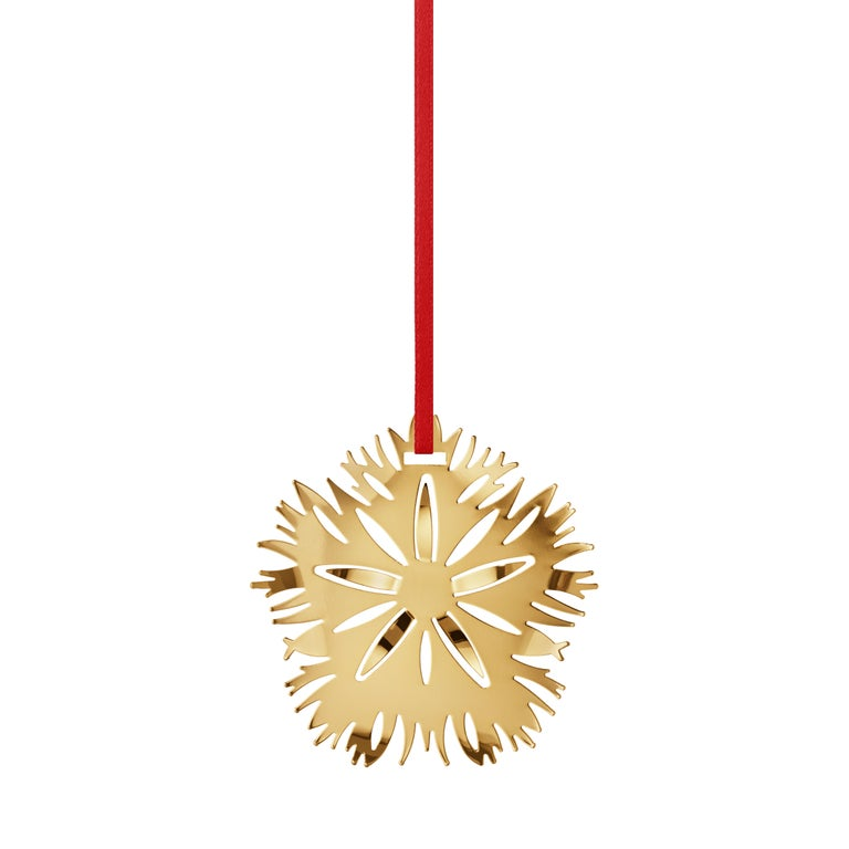 2020 Christmas Ice Dianthus Ornament in18 kt gold plated brass