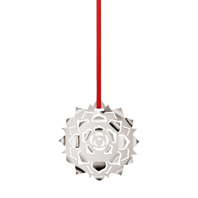 2020 Christmas Ornament, Ice Rosette, Palladium plated brass