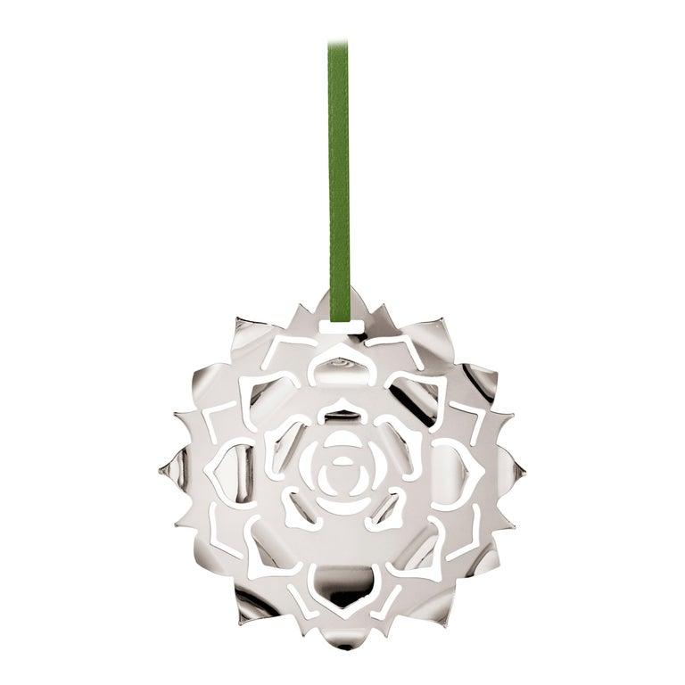CC 2020 Holiday Ornament Ice Rosette Palladium For Sale