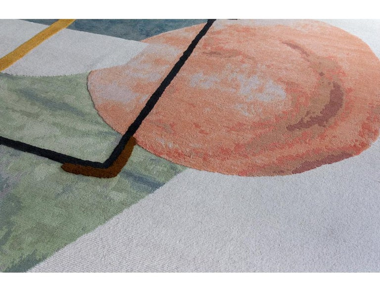 Hand knotted in the cc-tapis atelier in Kathmandu, Nepal. The rug is made with a cotton weave a Himalayan wool pile, and cotton stitching coming from the areas surrounding the atelier. 125.000 individual knots per square meter approximately. The