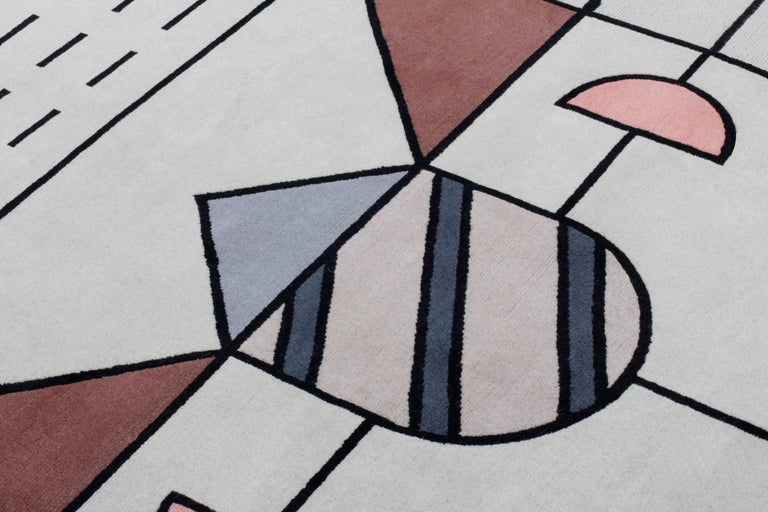 Modern CC-Tapis Flatlandia Cartesio Outline Rug by Elena Salmistraro For Sale