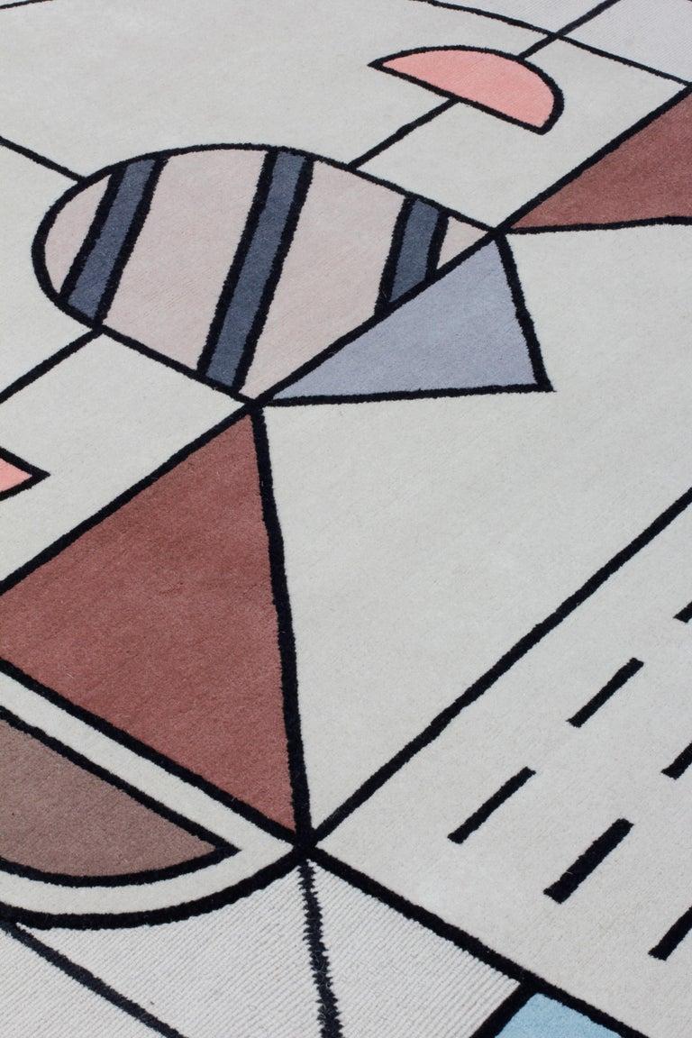 Nepalese CC-Tapis Flatlandia Cartesio Outline Rug by Elena Salmistraro For Sale