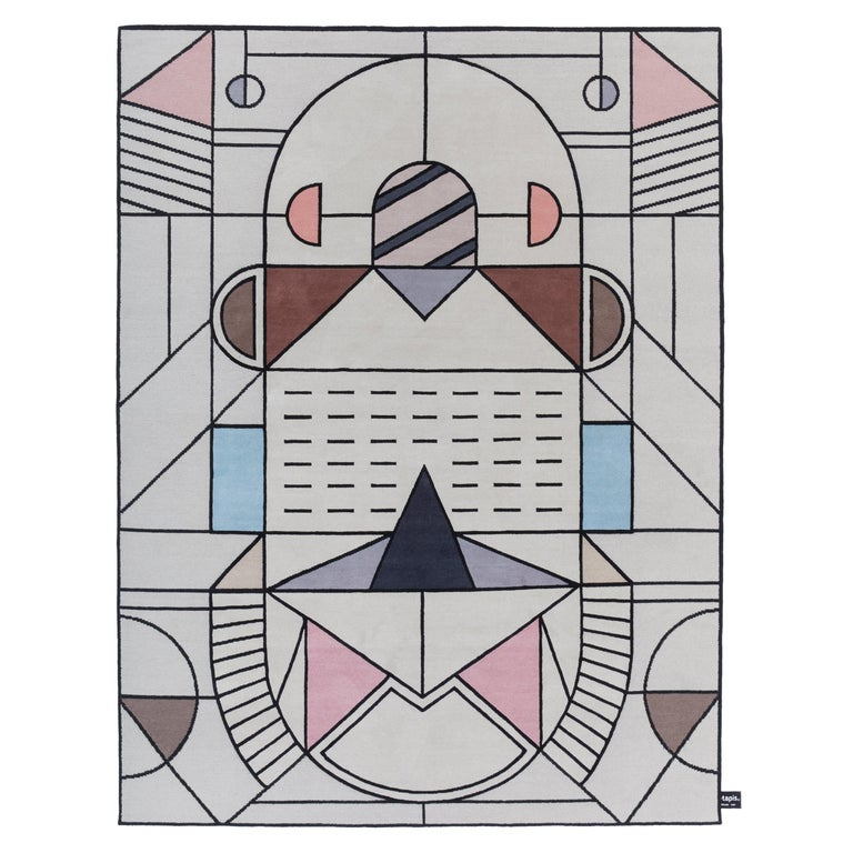 CC-Tapis Flatlandia Cartesio Outline Rug by Elena Salmistraro For Sale