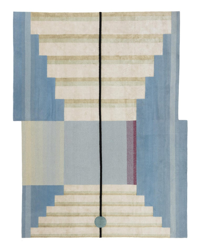 Mindscape by Mae Engelgeer The Mindscape rugs imagining a tranquil space, another universe,? an escapism, a spiritual discovery and staircase to a cosmic scenography. The collection reveals a scene of an extraordinary combination of colors, refined