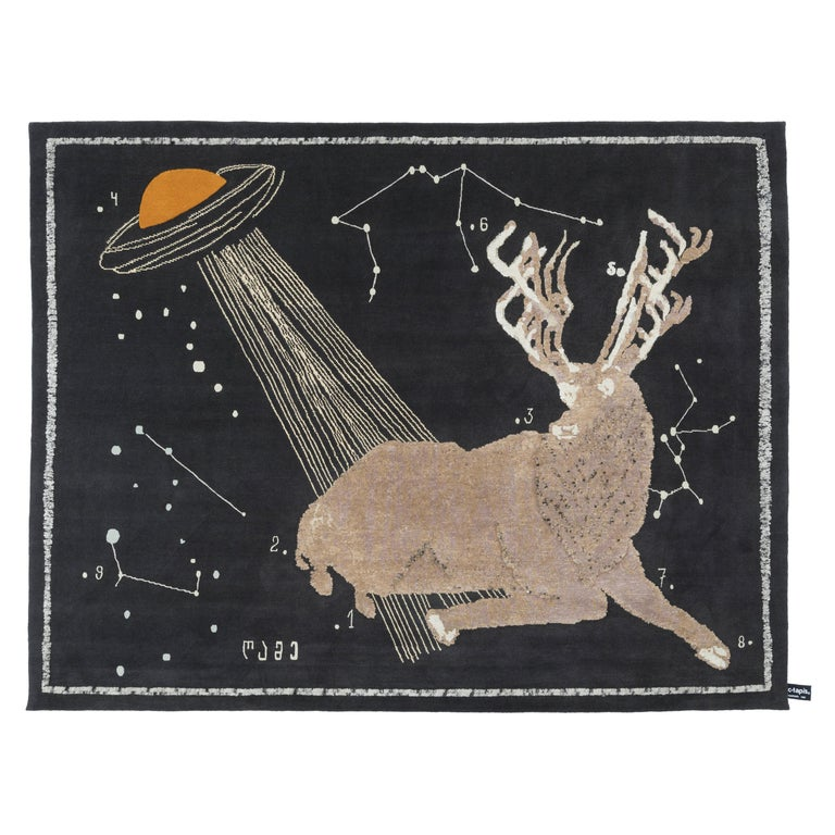 CC-Tapis The Night of a Hunter Deer at Night Rug by Rooms Studio For Sale