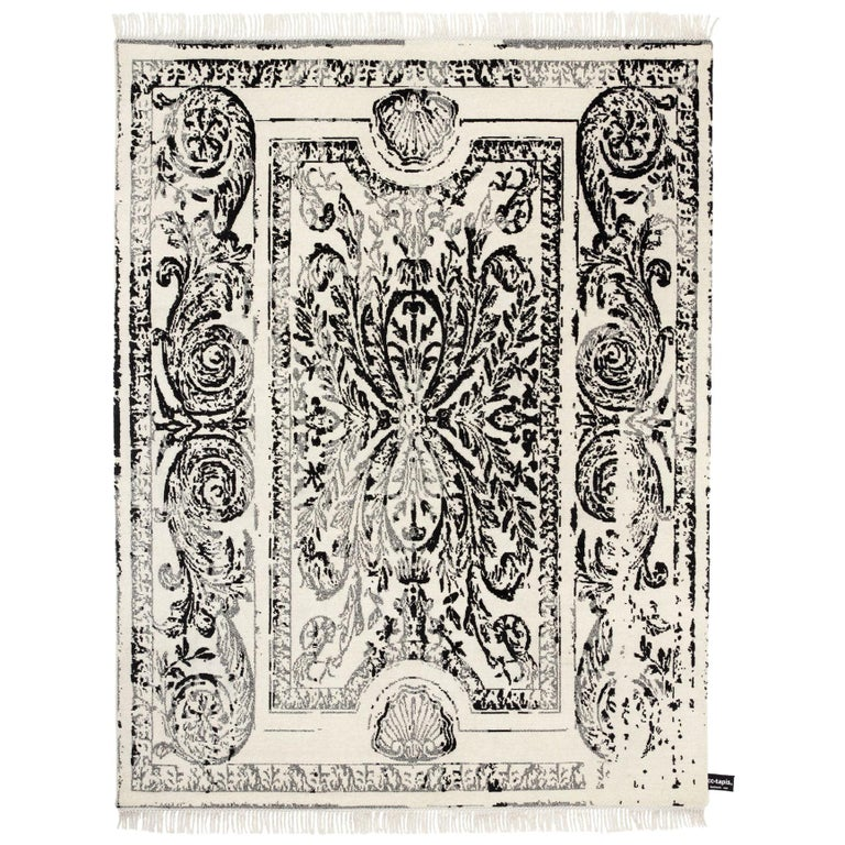 CC Tapis Traces De Savonnerie Black and White Rug For Sale