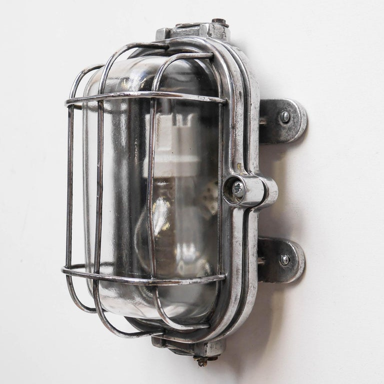 Industrial Cccp Fenced Wall Light, Russia, circa 1950 For Sale