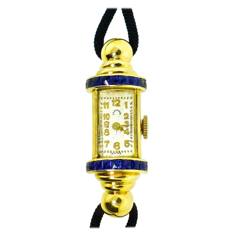 C.D. Peacock 18 Karat Retro Sapphire Wristwatch, circa 1950 For Sale