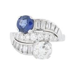 C.D. Peacock Art Deco Platinum Diamond and Sapphire Ring