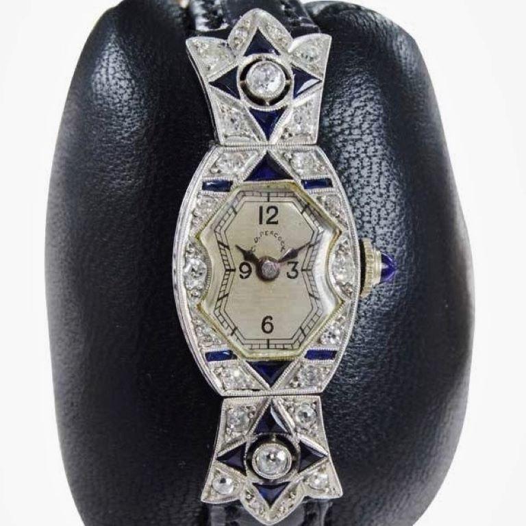 Round Cut C.D. Peacock Art Deco Platinum Diamond Ladies Dress Watch, circa 1930s For Sale