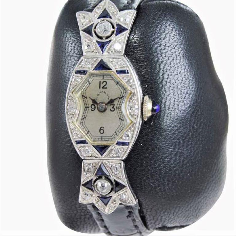 Women's or Men's C.D. Peacock Art Deco Platinum Diamond Ladies Dress Watch, circa 1930s For Sale