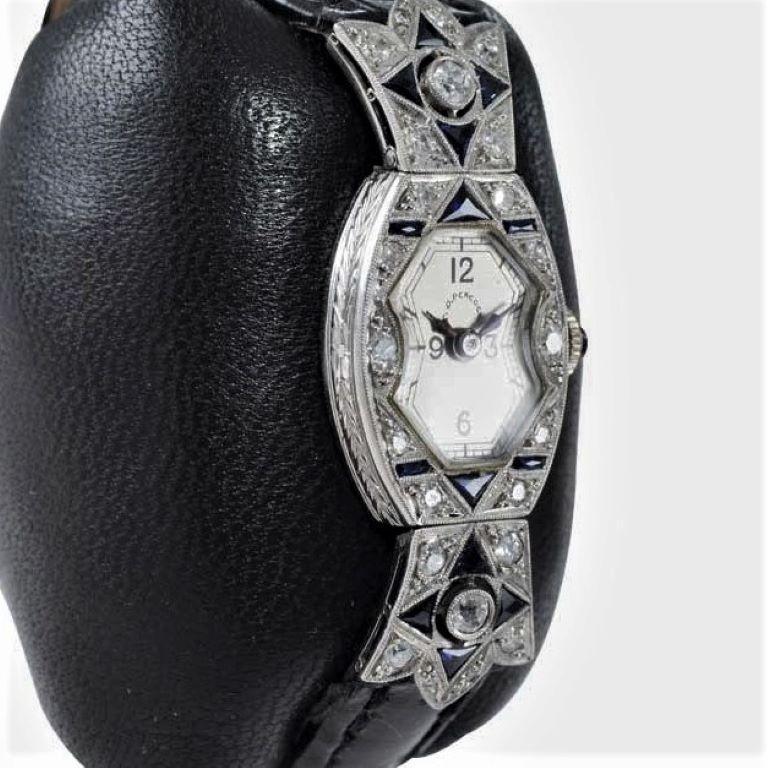 C.D. Peacock Art Deco Platinum Diamond Ladies Dress Watch, circa 1930s For Sale 1