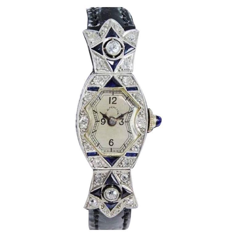 C.D. Peacock Art Deco Platinum Diamond Ladies Dress Watch, circa 1930s For Sale