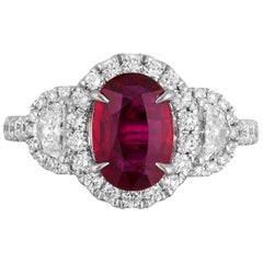 CDC Certified 1.52 Carat Mozambique Ruby Diamond Ring