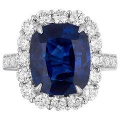 CDC Certified 7.59 Carat Cushion Shape Blue Sapphire Diamond Cocktail Ring