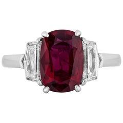 CDC Lab Certified 2.22 Carat Oval Shape Thai Ruby Diamond Three-Stone Ring