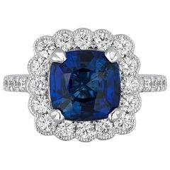 CDC Lab Certified 3.21 Carat Cushion Blue Sapphire Diamonds Cocktail Ring