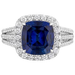 CDC LAB Certified 4.11 Carat Cushion Royal Blue Sapphire Diamond Cocktail Ring