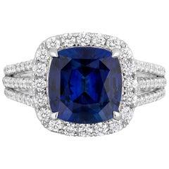 CDC LAB Certified 4.11 Carat Cushion Royal Blue Sapphire Diamond Cocktail Ring