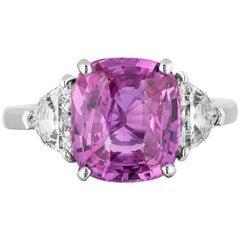 CDC Lab Certified 5.04 Carat Pink Sapphire Diamond Three-Stone Ring