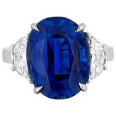CDC Lab Certified 9.53 Carat Blue Sapphire Diamond Three-Stone Ring