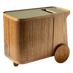 CE Bar Rolling Cart in Freijo Wood