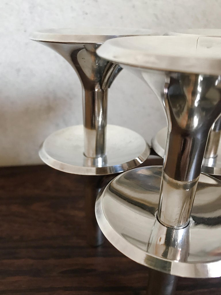 Ceasar Stoffi and Fritz Nagel Silver Plated Candleholders, 1960s For Sale 8
