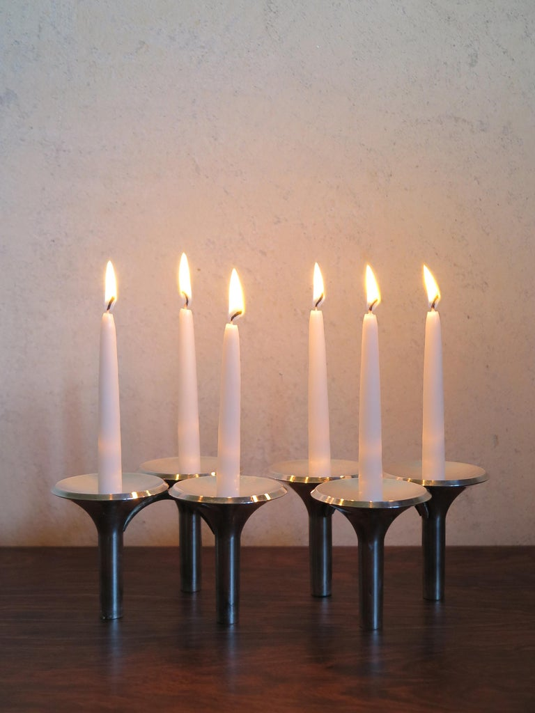 Mid-Century Modern Ceasar Stoffi and Fritz Nagel Silver Plated Candleholders, 1960s For Sale
