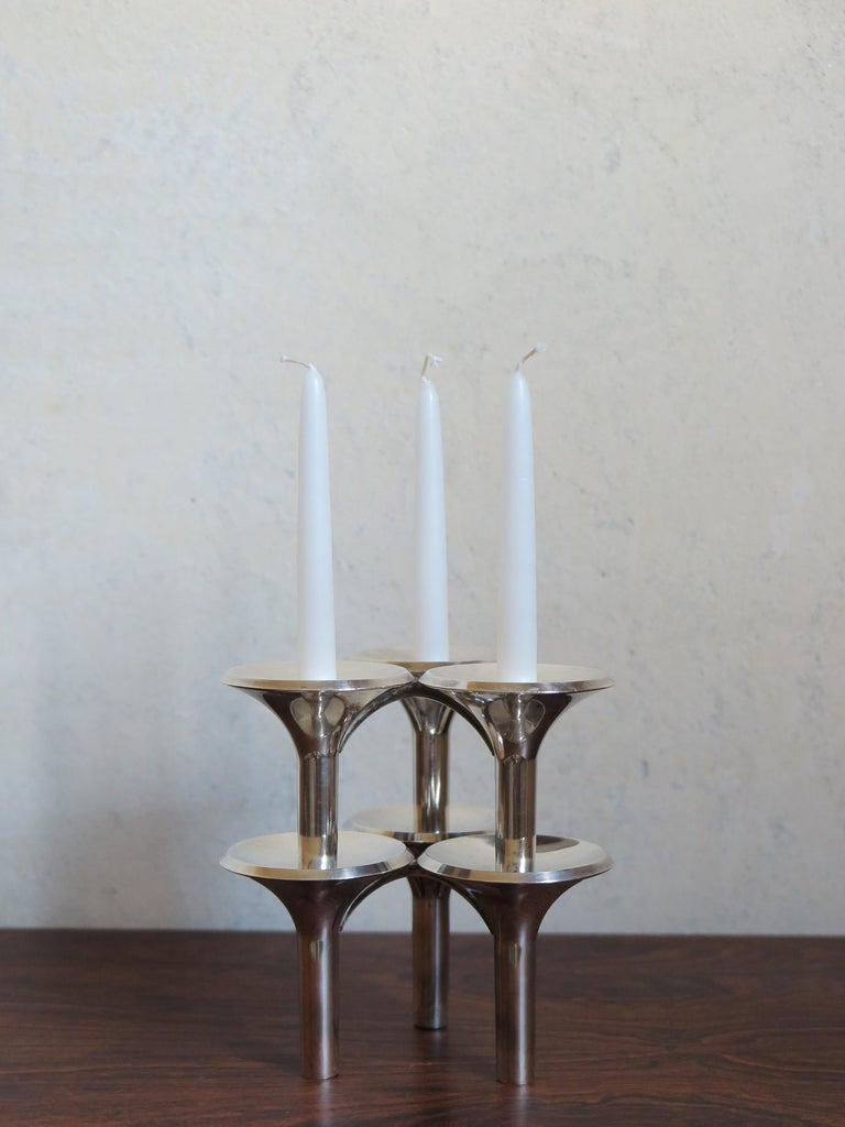 Mid-17th Century Ceasar Stoffi and Fritz Nagel Silver Plated Candleholders, 1960s For Sale