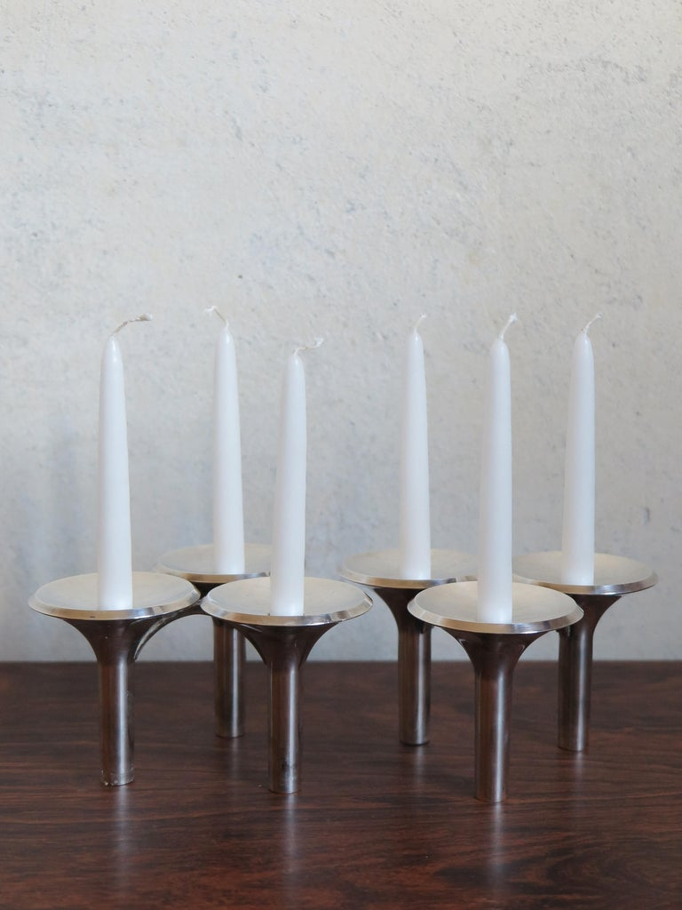 Mid-Century Modern Ceasar Stoffi e Fritz Nagel Candleholders for BMF in Chromed Metal, 1960s For Sale