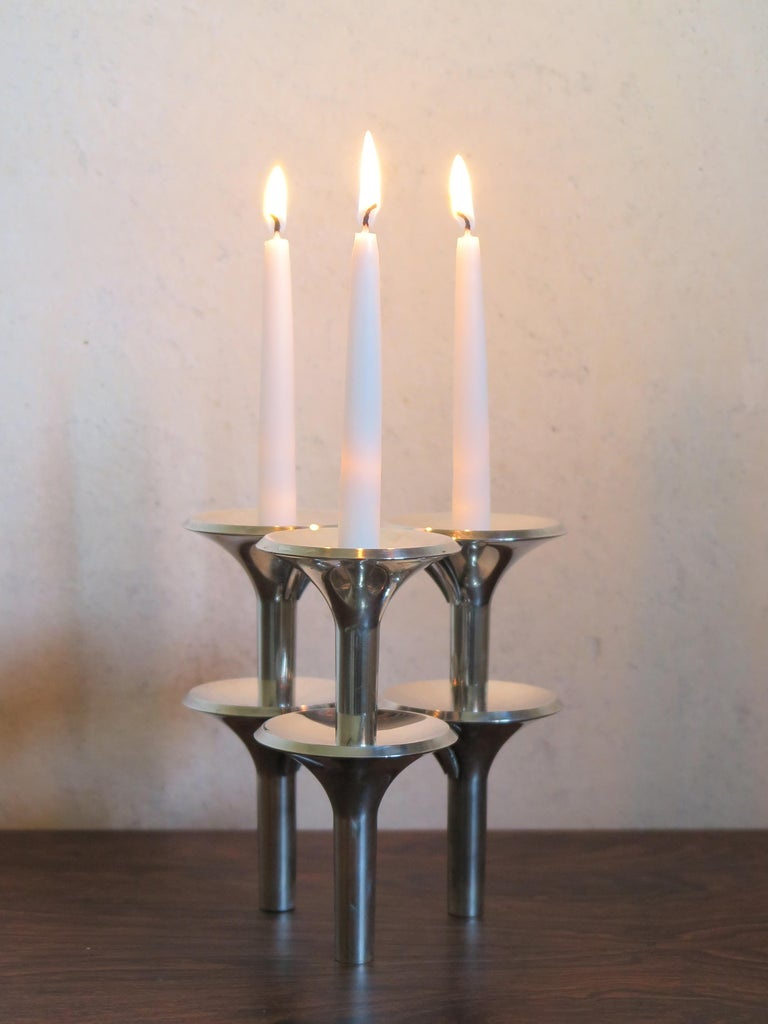German Ceasar Stoffi e Fritz Nagel Candleholders for BMF in Chromed Metal, 1960s For Sale