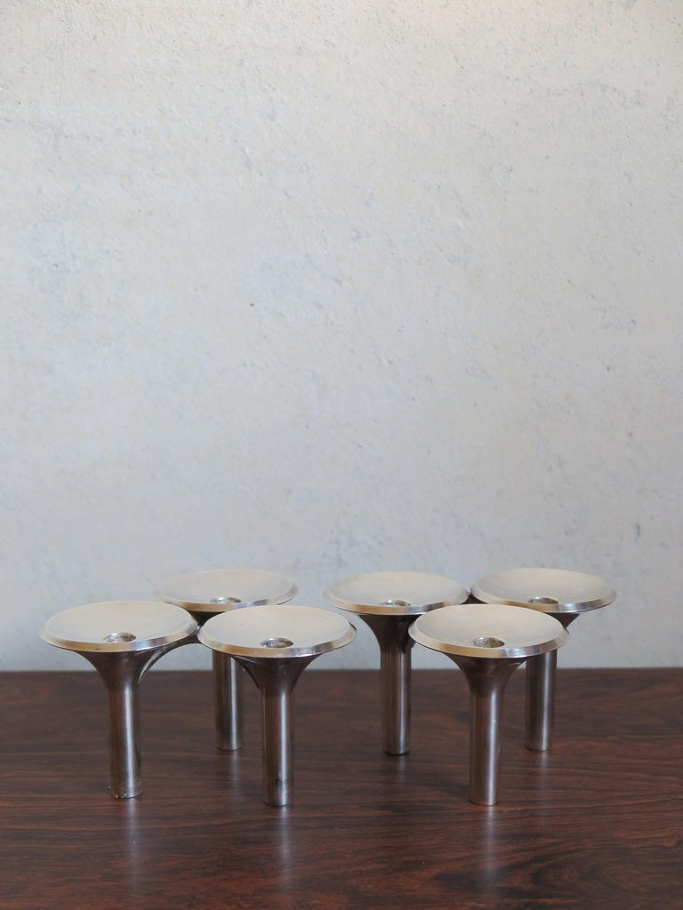 Mid-20th Century Ceasar Stoffi e Fritz Nagel Candleholders for BMF in Chromed Metal, 1960s For Sale
