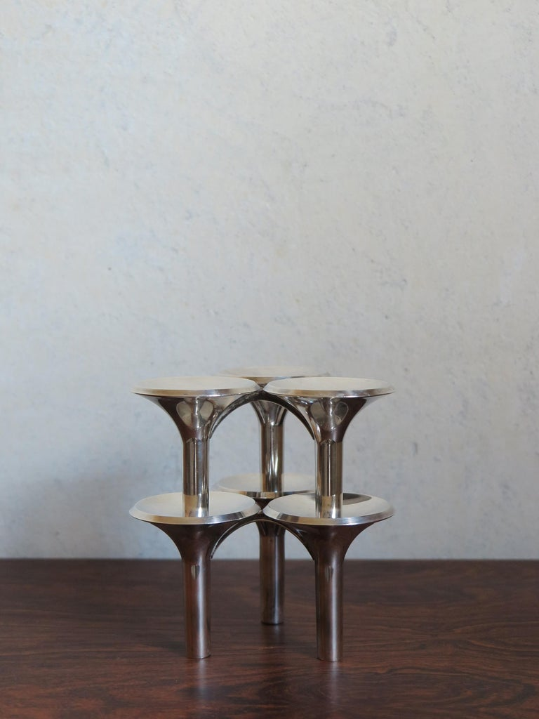 Ceasar Stoffi e Fritz Nagel Candleholders for BMF in Chromed Metal, 1960s For Sale 1