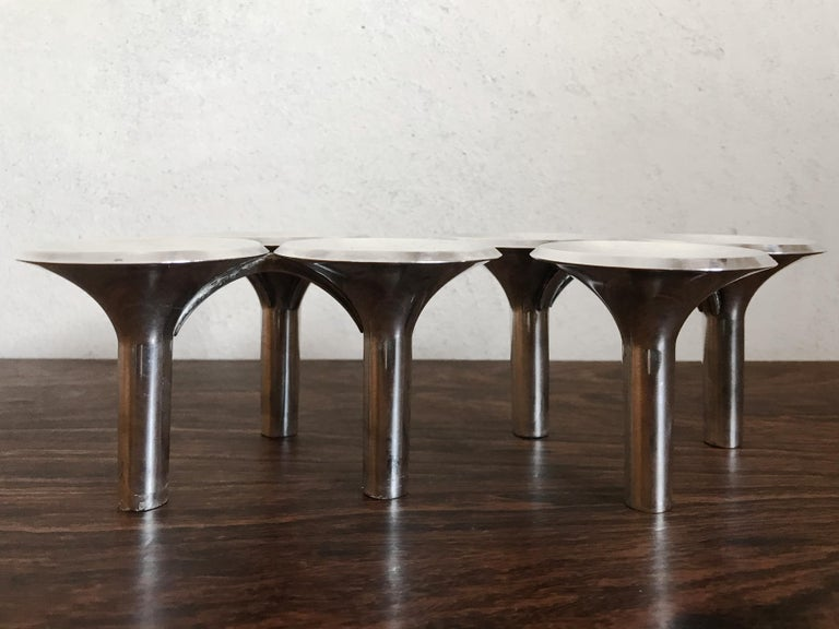 Ceasar Stoffi e Fritz Nagel Candleholders for BMF in Chromed Metal, 1960s For Sale 2