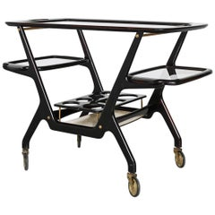 Cecare Lacca Bar Cart Serving Trolly Cassina, Italy, 1950