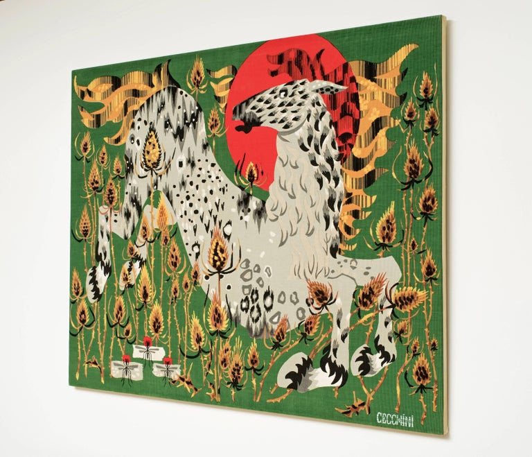 Hand-Crafted Cecchini Horse Tapestry For Sale