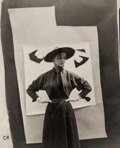 Jean Patchett Against Cutout Backdrop for 'Vogue' , 1949 - Cecil Beaton